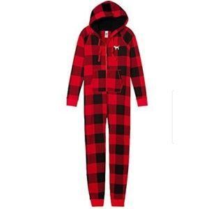 PINK VS Checkered Front Zip Onsie Pajama